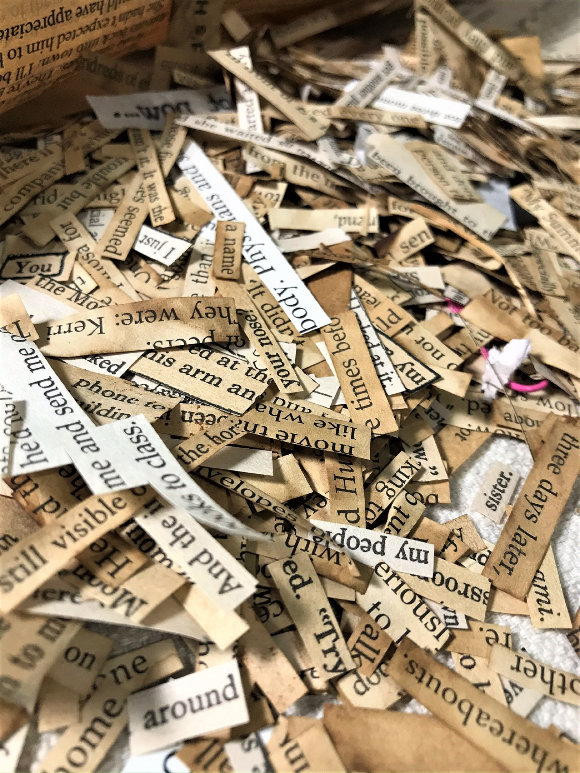 strips of book pages with lots of words