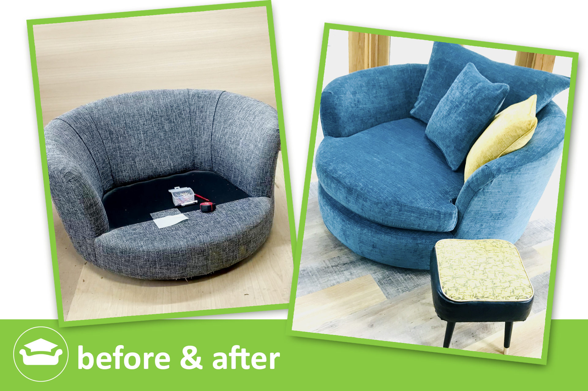 learn to make a loose cover for a curved chair or tub chair