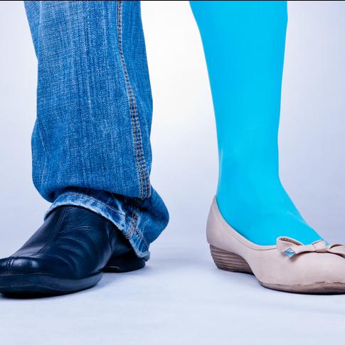 split image of mans leg and womans leg