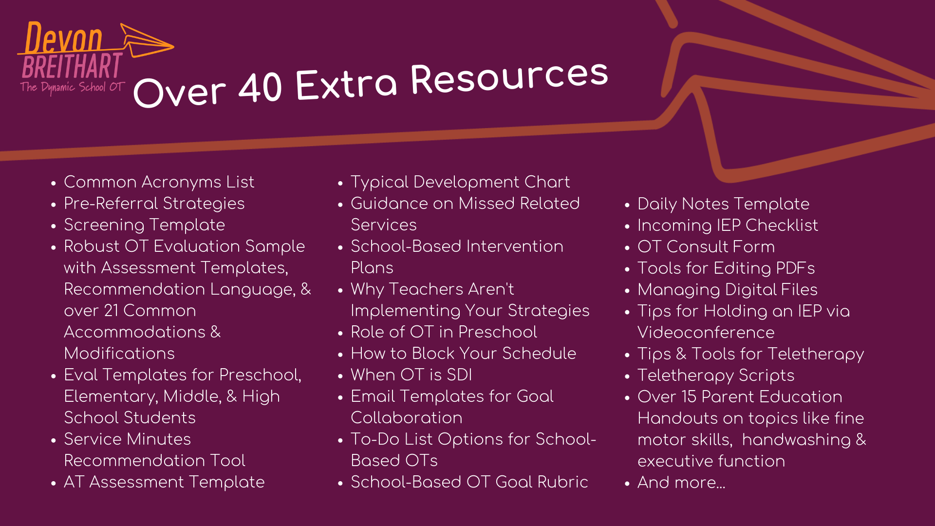 The Dynamic School OT Extra Resources