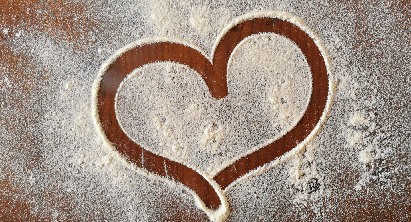 Heart made with flour