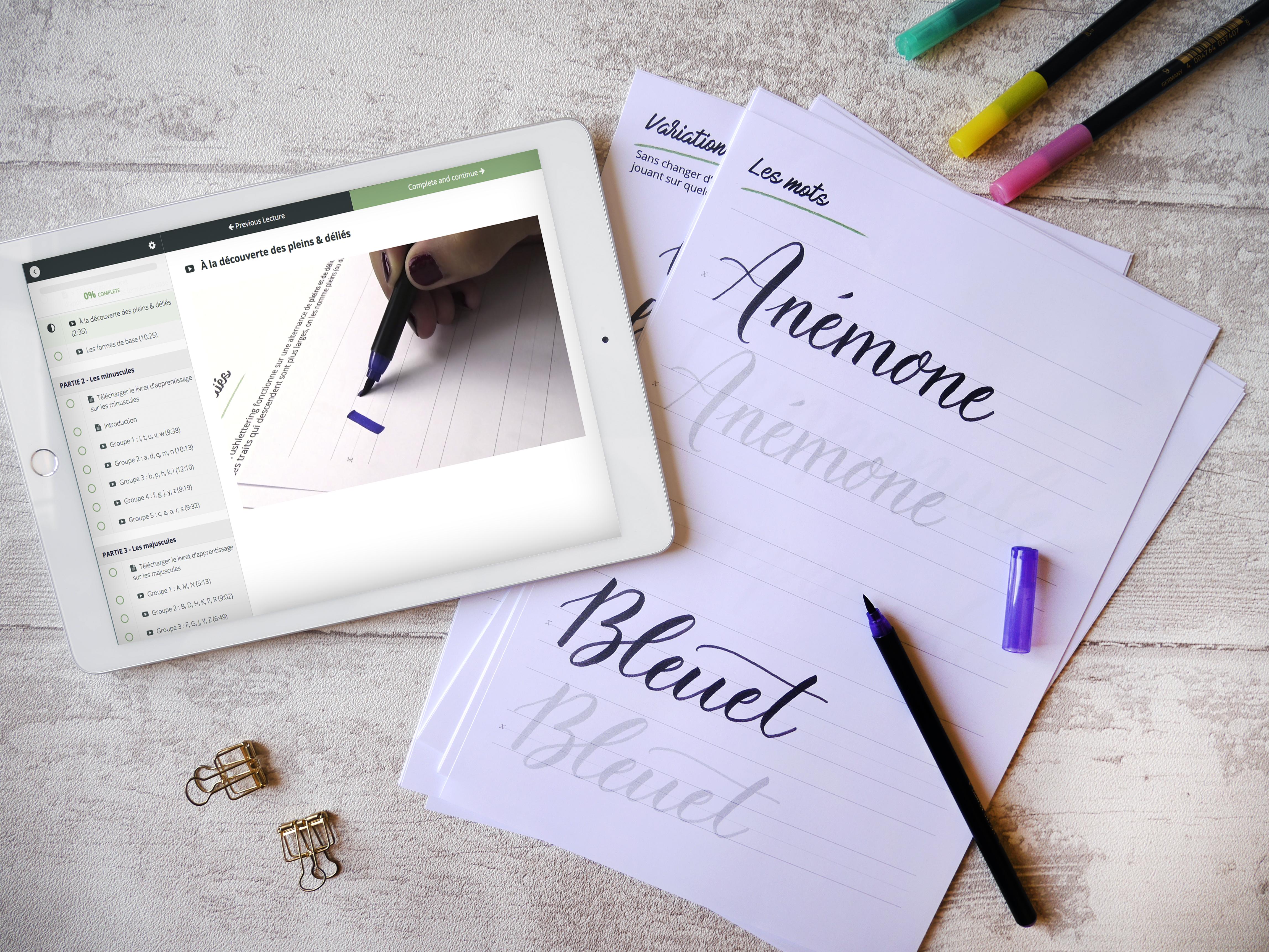 atelier en ligne pour apprendre le brush lettering