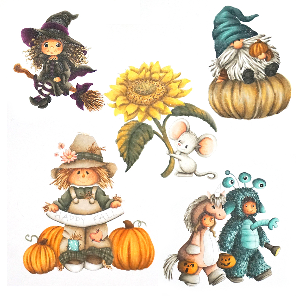 Fall Online Copic Marker Training Course - Learning Freehand backgrounds and coloring Fall Images.