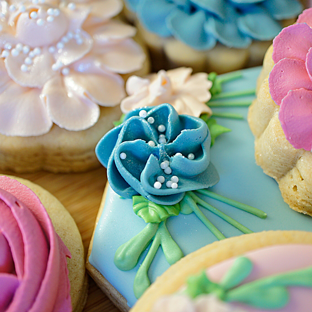 close up of floral royal icing