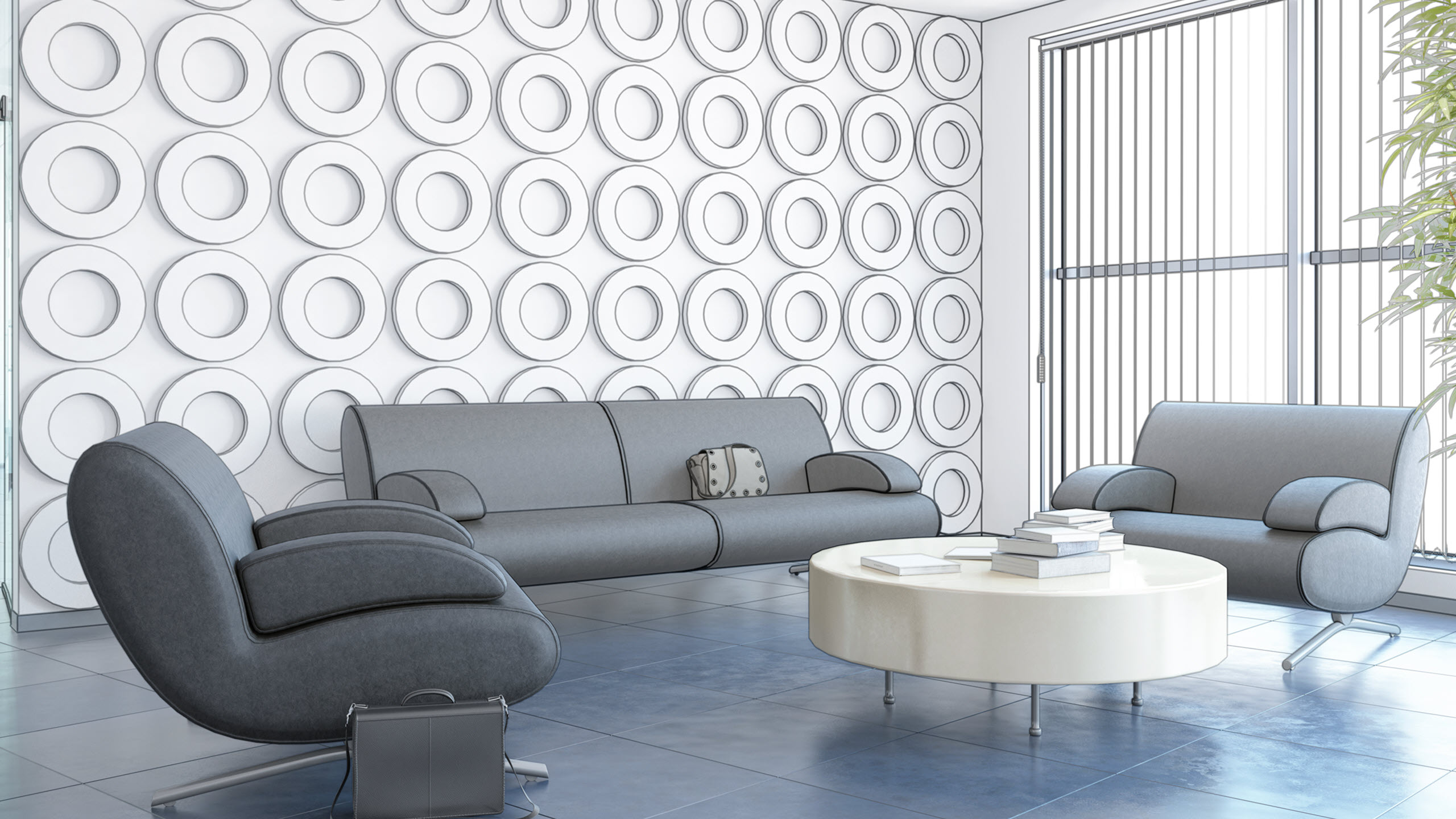 Contemporary room with comfortable sofas
