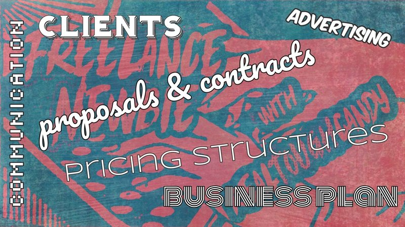 art canvas with various words about freelancing like business plan, clients, advertising and communication