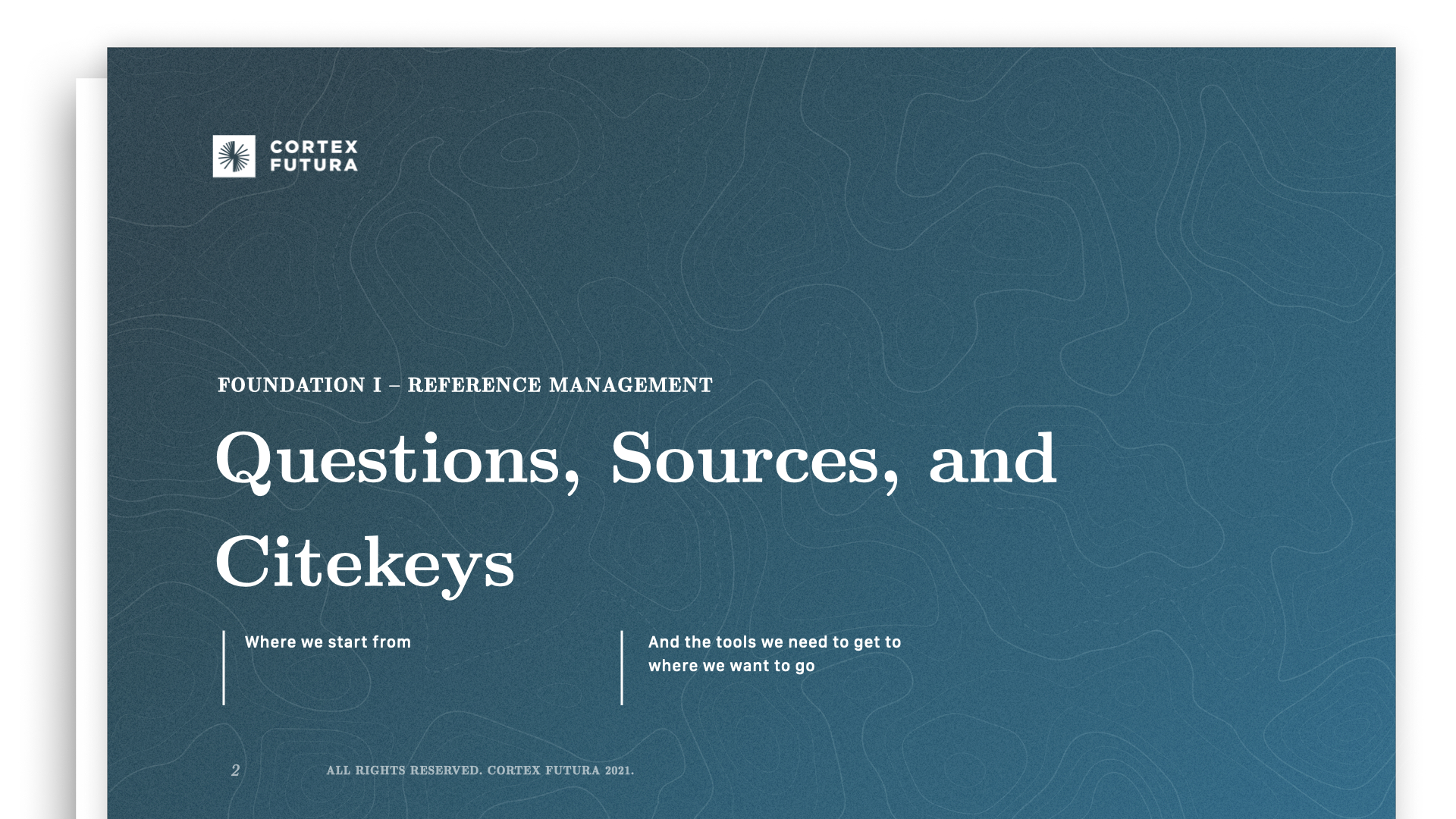 Questions, Sources, and Citekeys