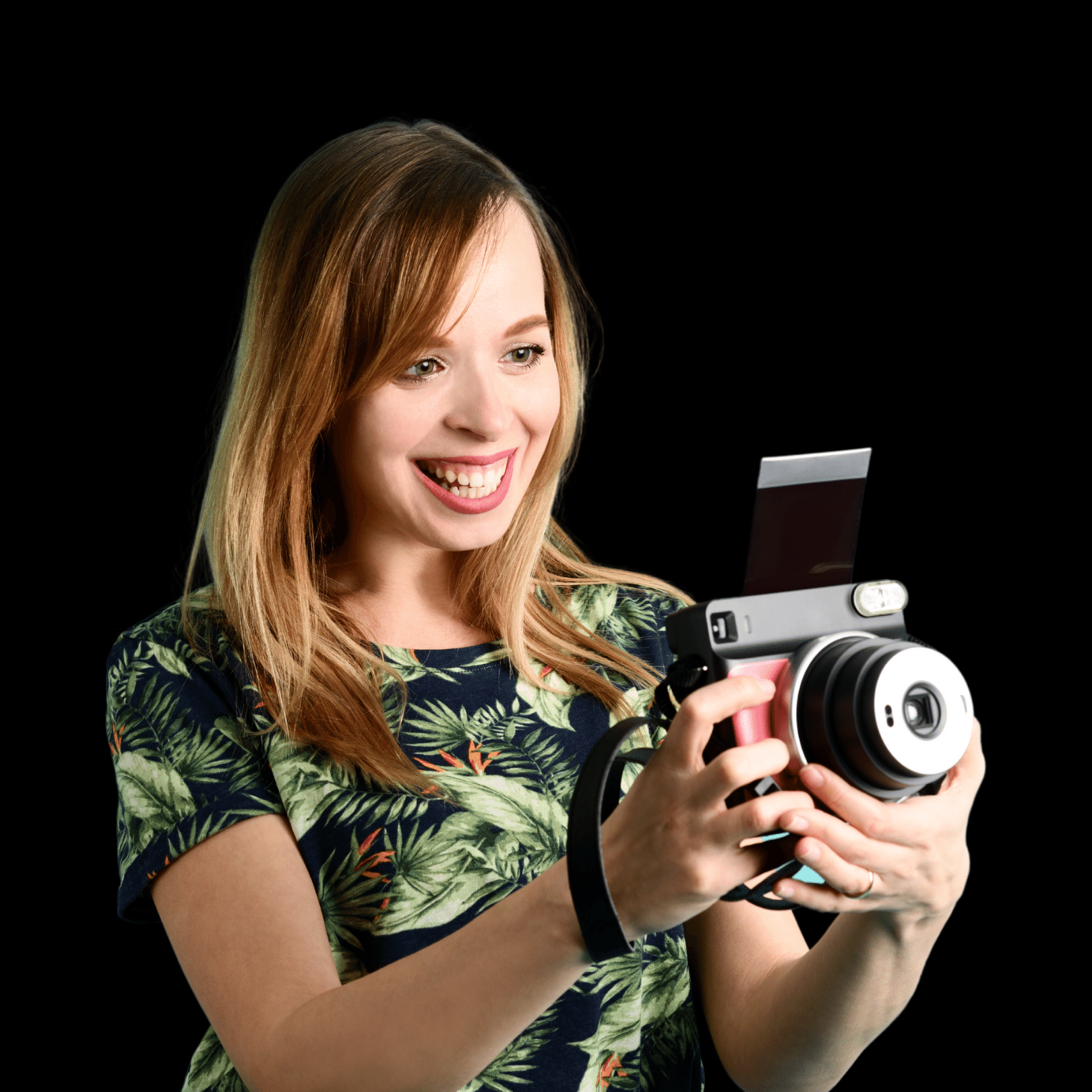Woman discovering new perspective with camera