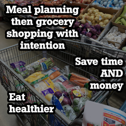 grocery shopping cart filled with healthy items with a text overlay