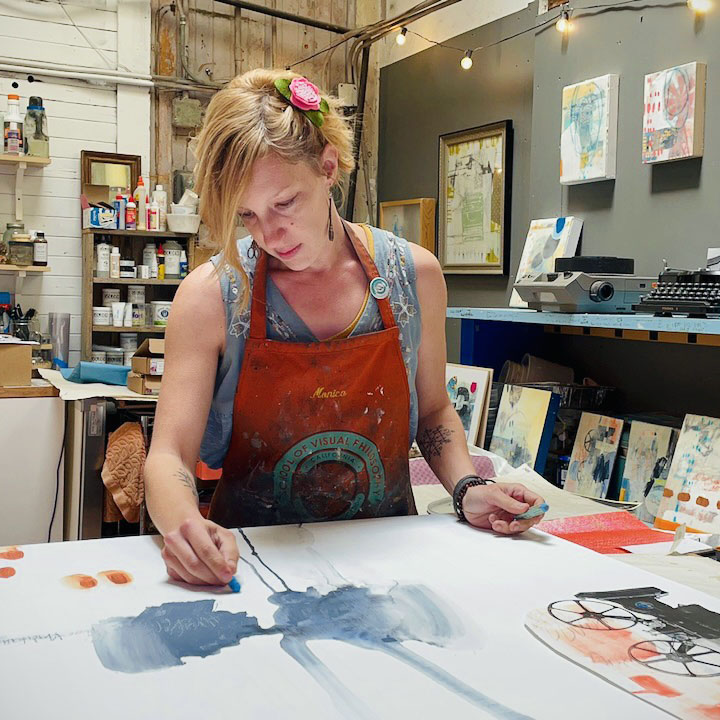 Dana working in the studio
