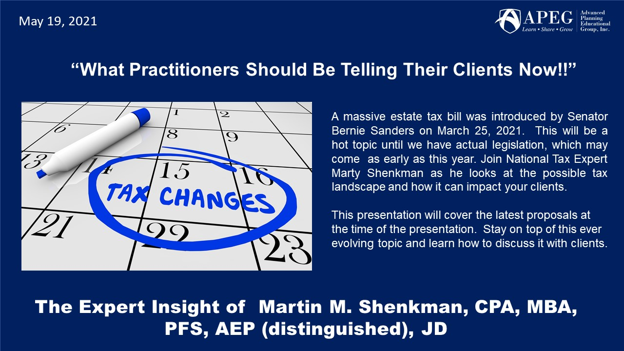 """APEG """"What Practitioners Should Be Telling Their Clients Now!!"""""""