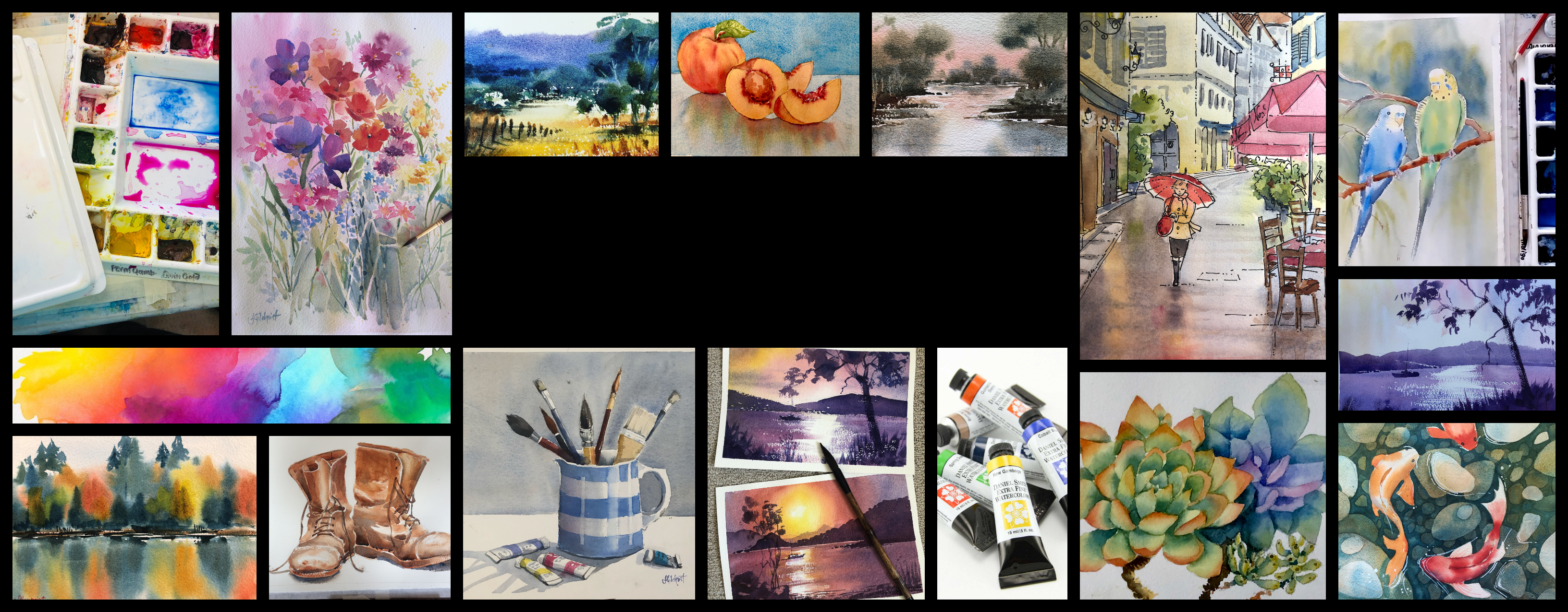 Intermediate Classes and workshops for watercolour painters on demand online with Jenny Gilchrist and Northern Beaches Watercolour