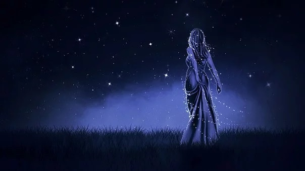 Banner Sprit lady on sky blue background with stars