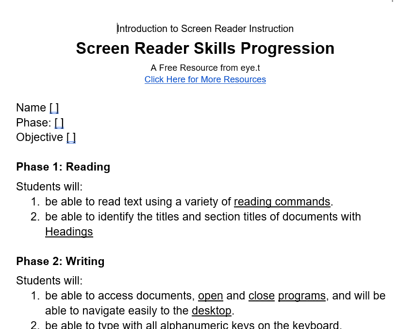 Screen Reader Progression