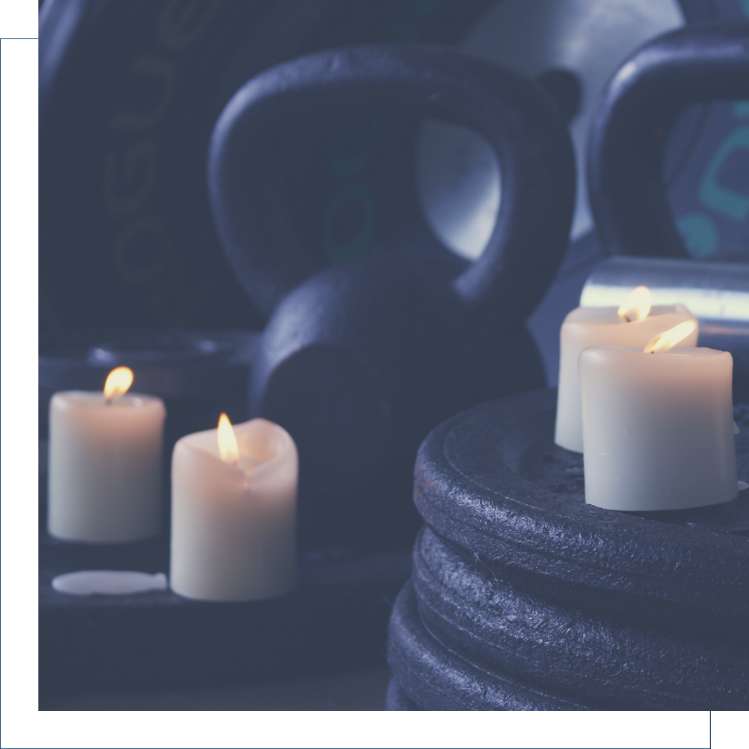 Kettlebells with candles