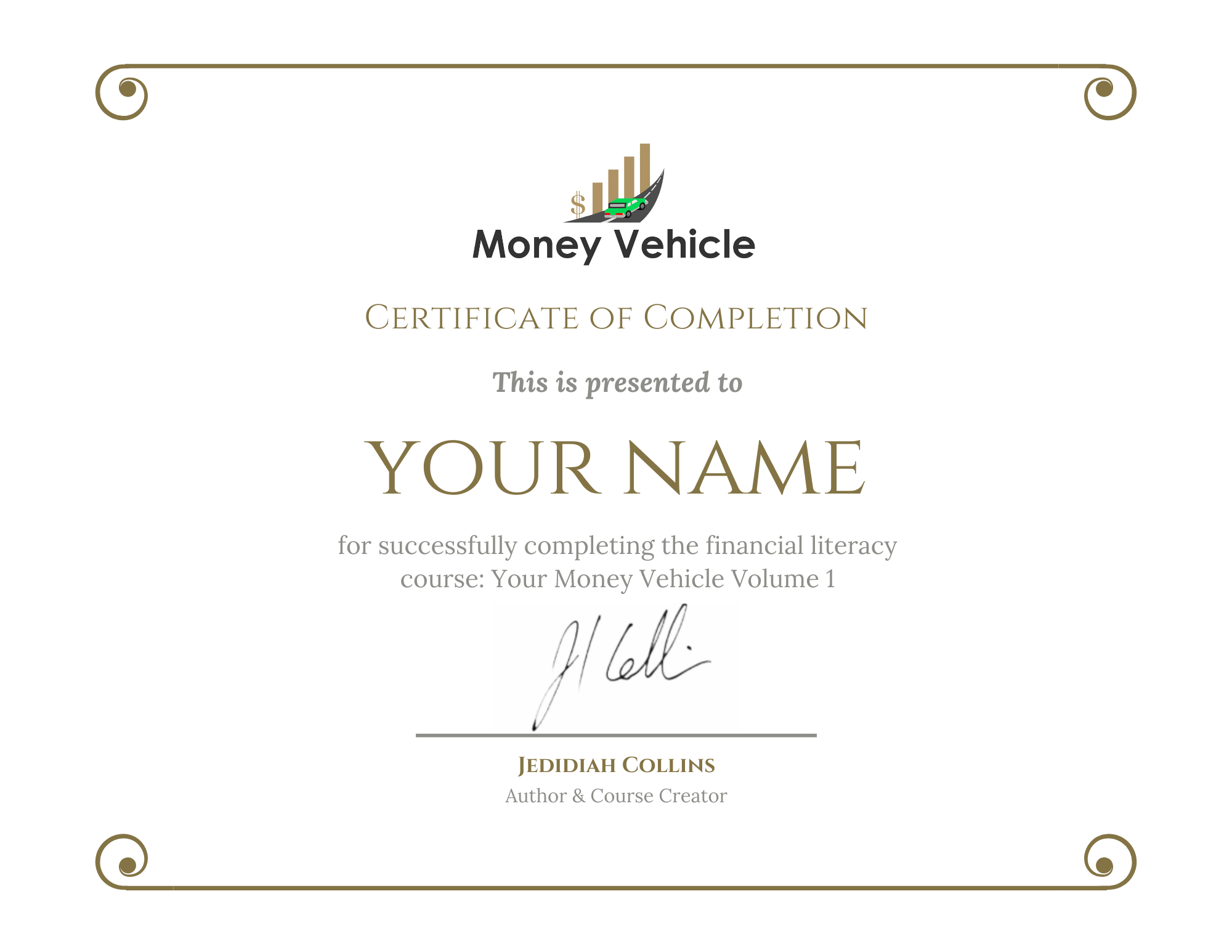 Money Vehicle Certification