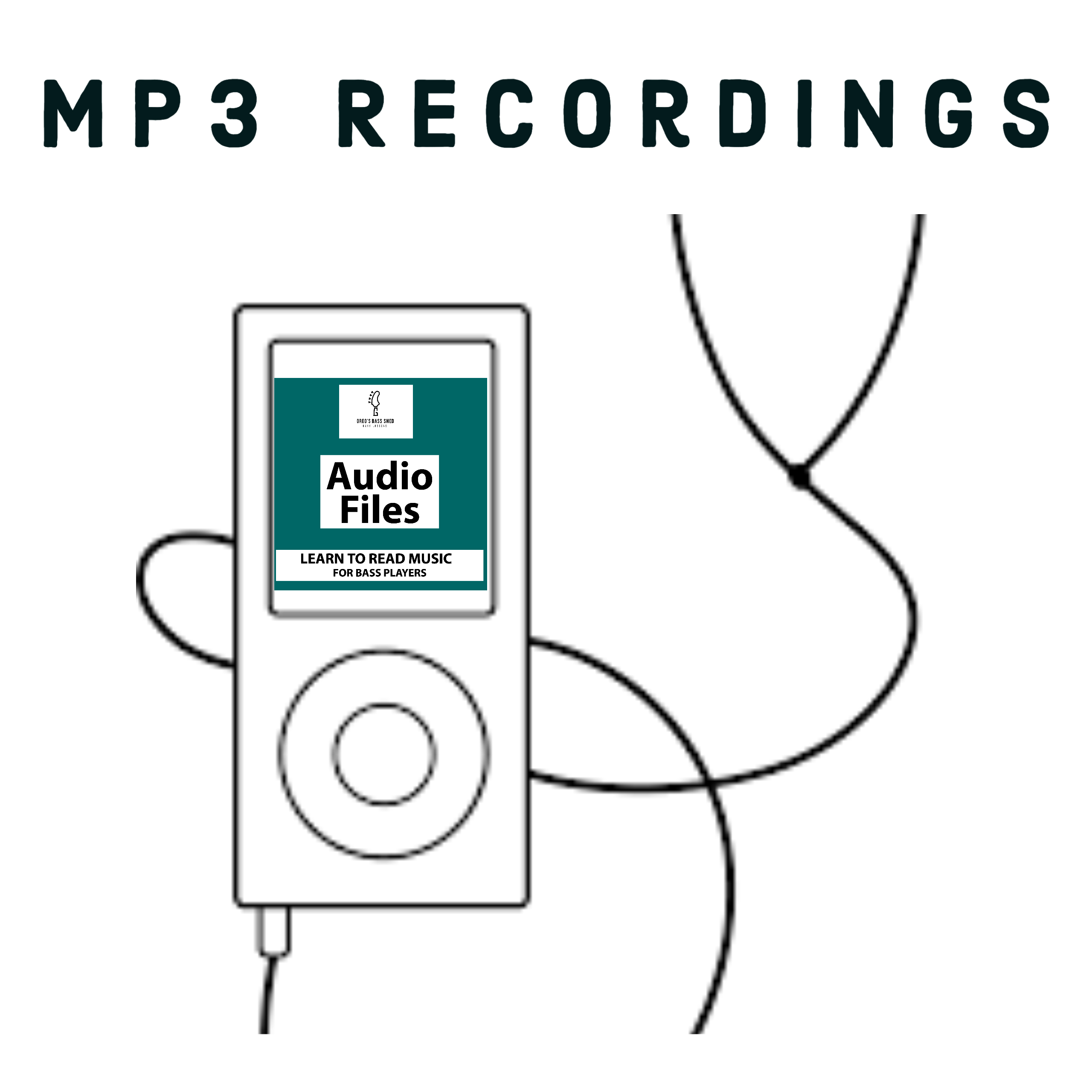 picture of mp3 players with audio examples forReading Music Course for bass players