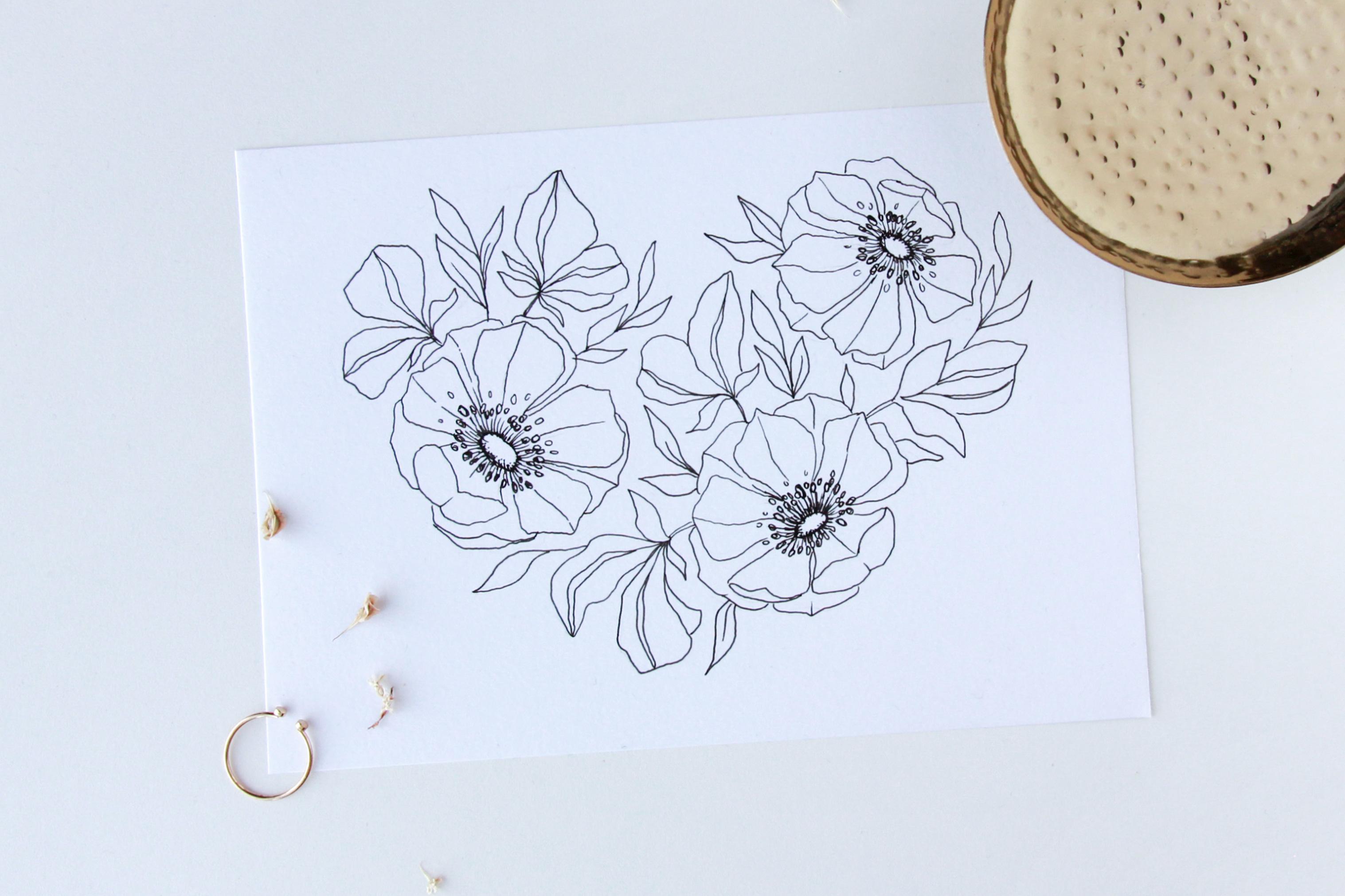 Floral heart illustration - Bloom Creatives art classes