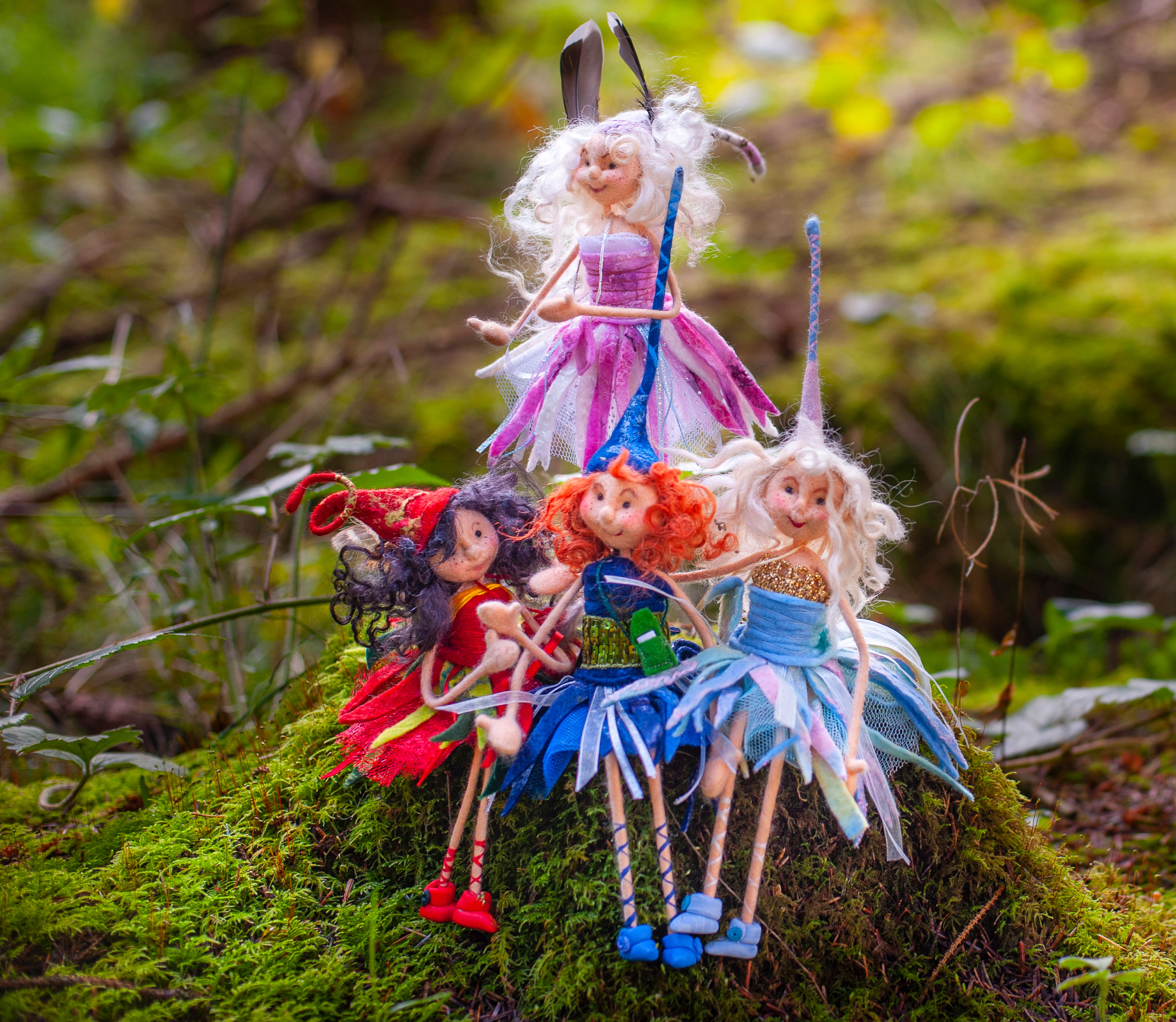 Felting with wool and making fairies