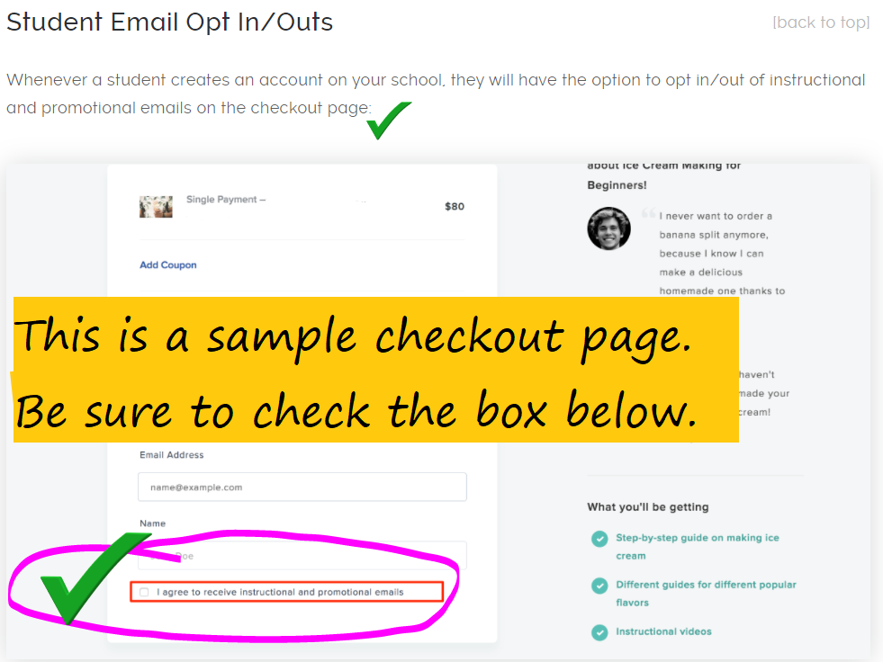 image of a sample checkout page reminding students to check the box to opt in to course emails