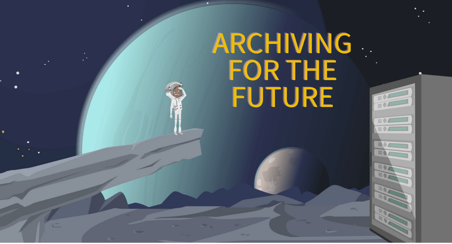 Cartoon drawing of an astronaut standing on a cliff looking at planets in the background. There is a computer server in the right side foreground.