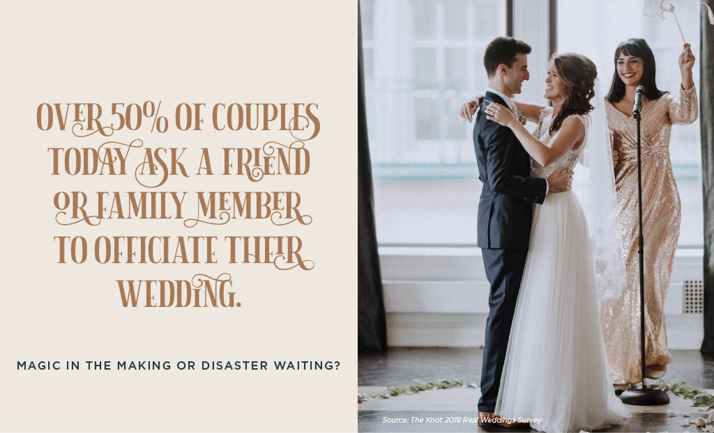 50% of couples ask a friend or family member to officiate their wedding
