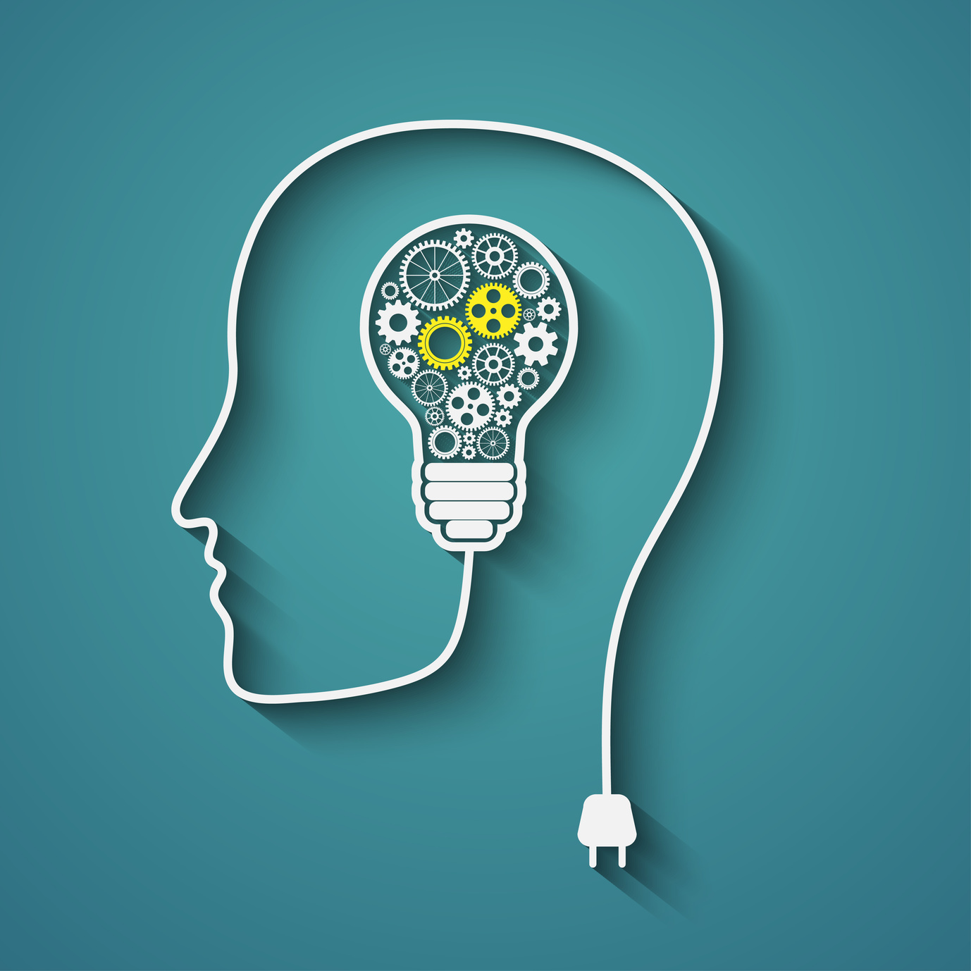 A lightbulb full of cogs to represent thinking and a power lead in the shape of a head