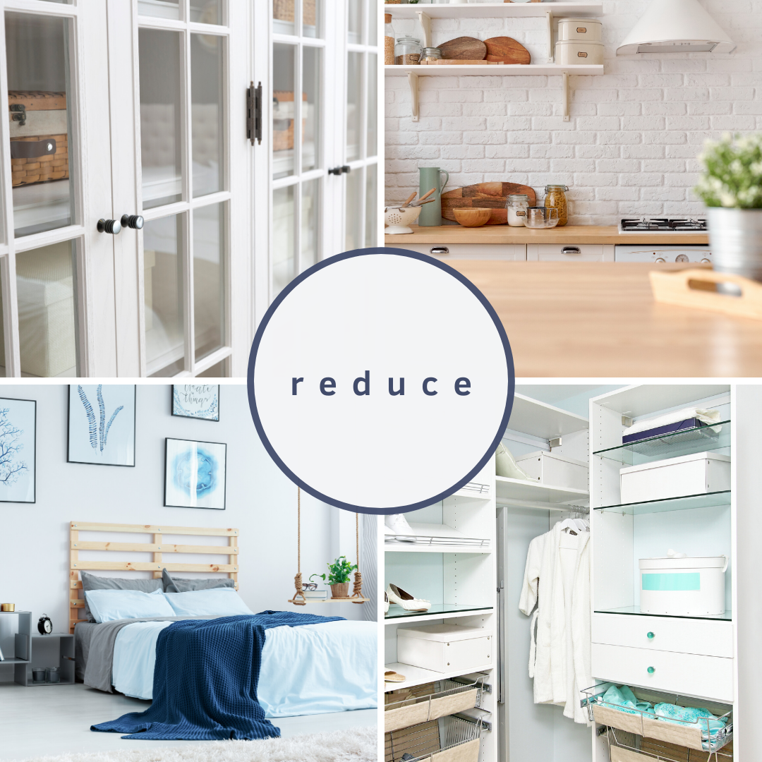 reduce, blue, white minimal kitchen, closet, bedroom, blue white and brown