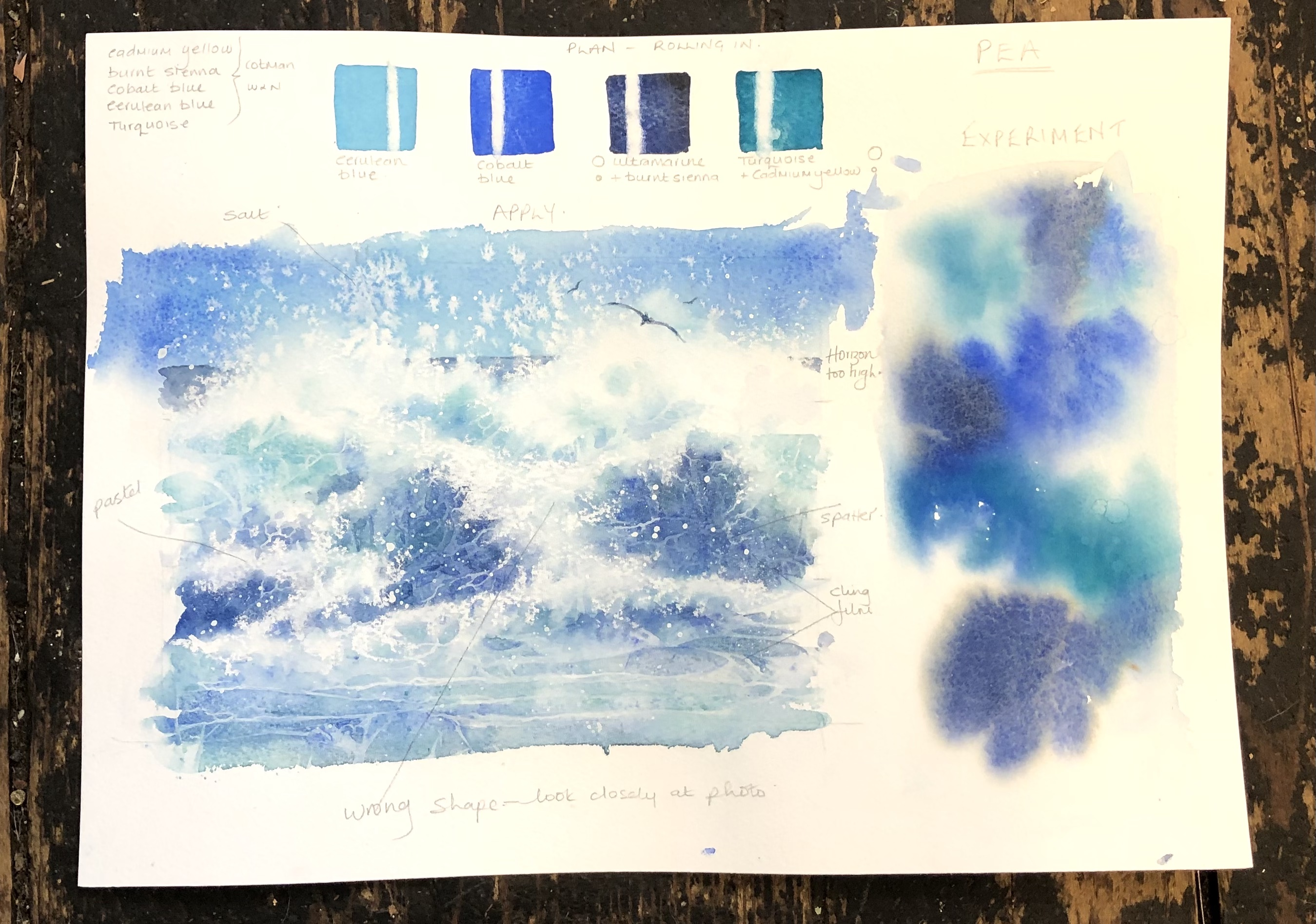 planning sheet for watercolour painting of the sea
