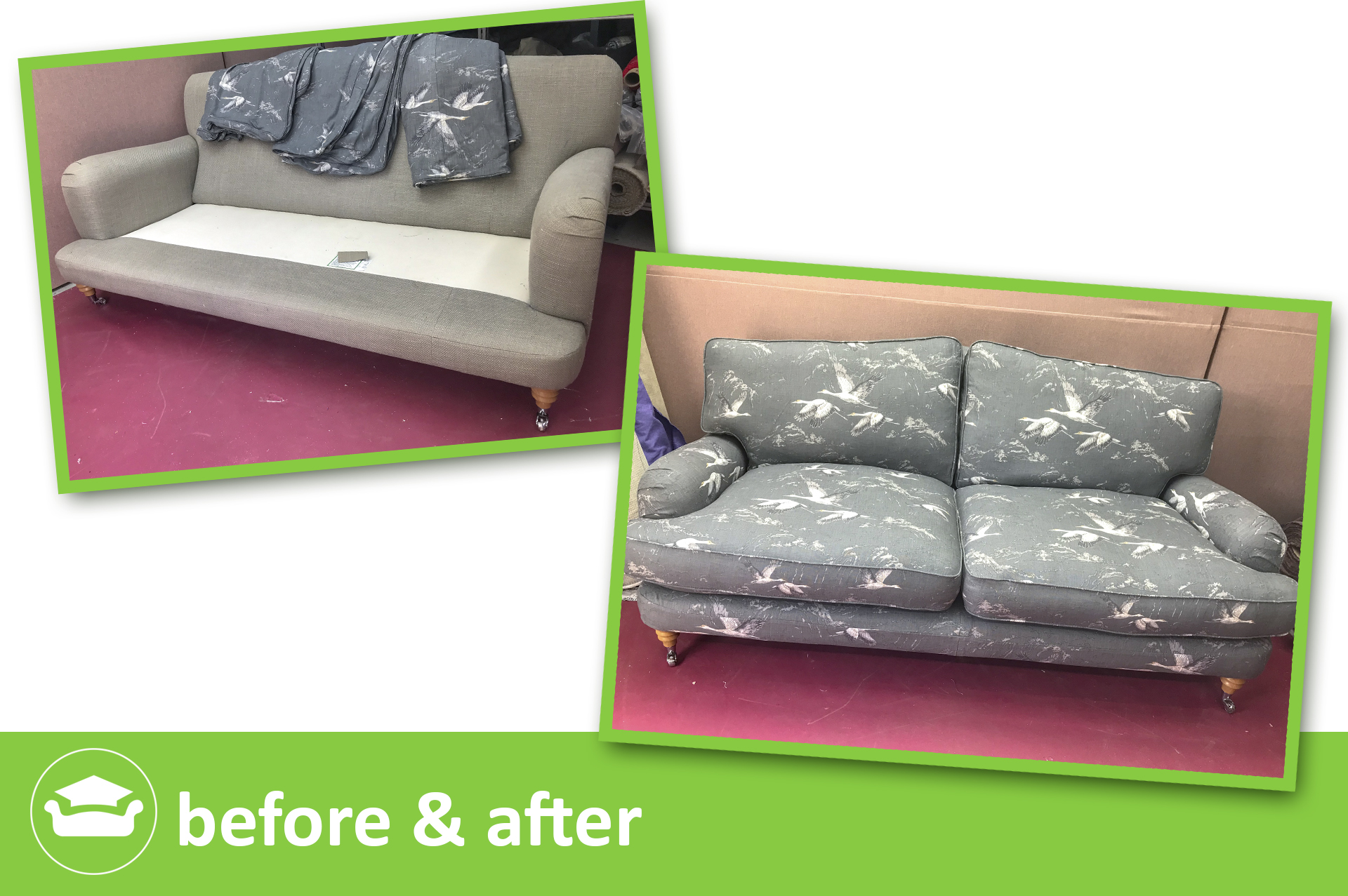 Learn to make a loose cover for a roll arm sofa