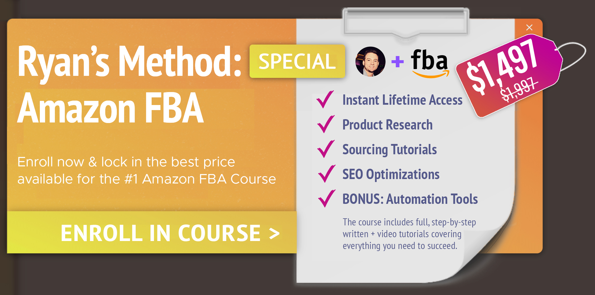 Enroll in Ryans Method: Amazon FBA