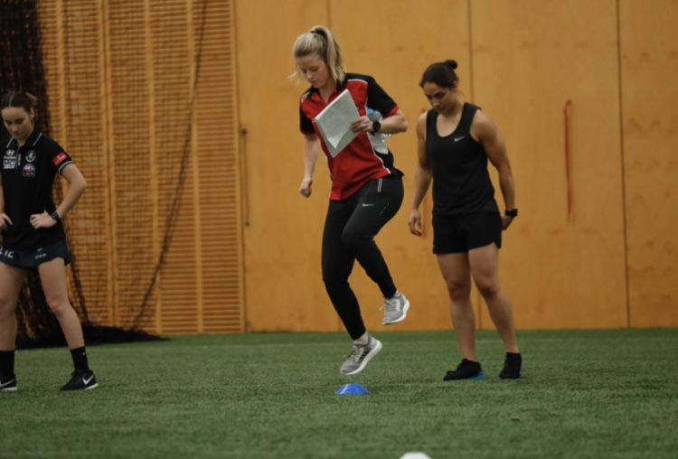 Image: Brooke Patterson demonstrating agility and hopping drills