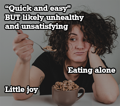indifferent girl eating cereal alone with a text overlay
