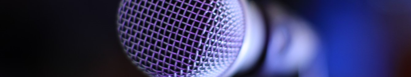 blue coloured microphone
