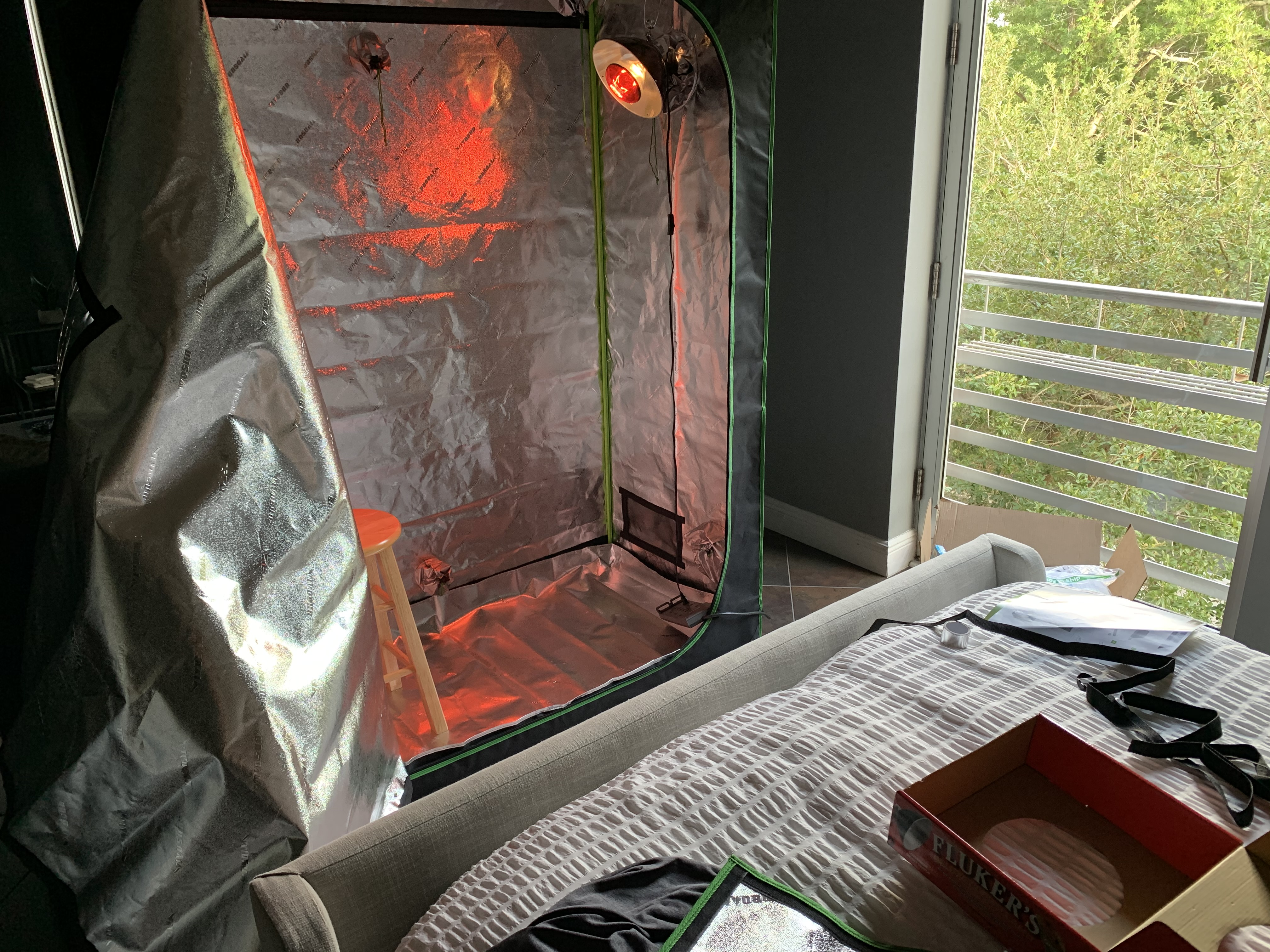 diy infrared sauna course I built during covid airbnb stay