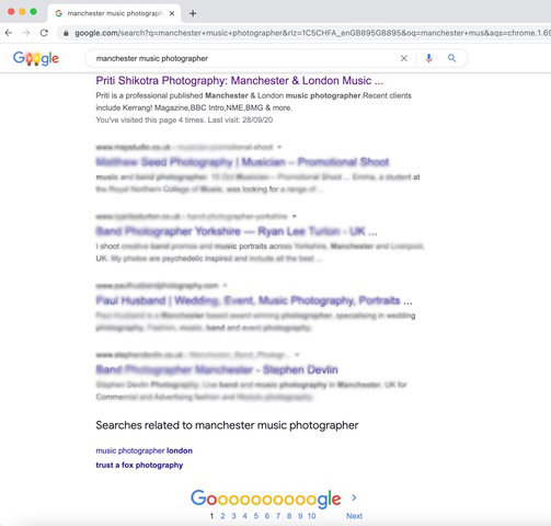 seo for photographer result page 1 google