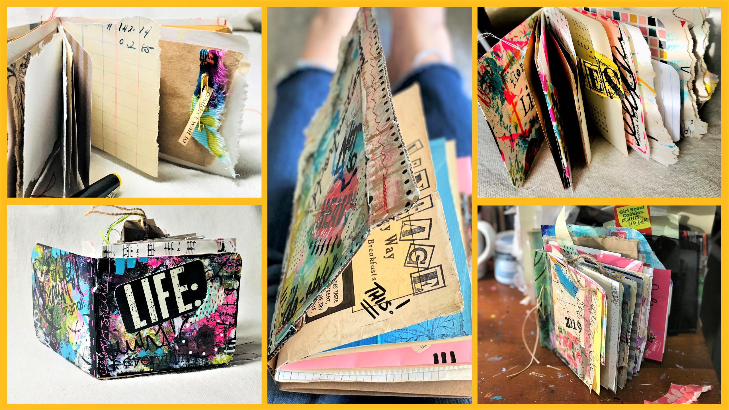small junk journal on an art table_RobinLK Studios