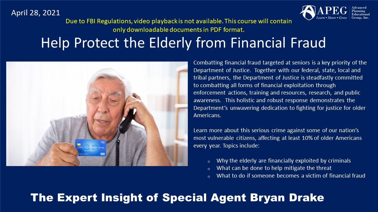 APEG Help Protect the Elderly from Financial Fraud