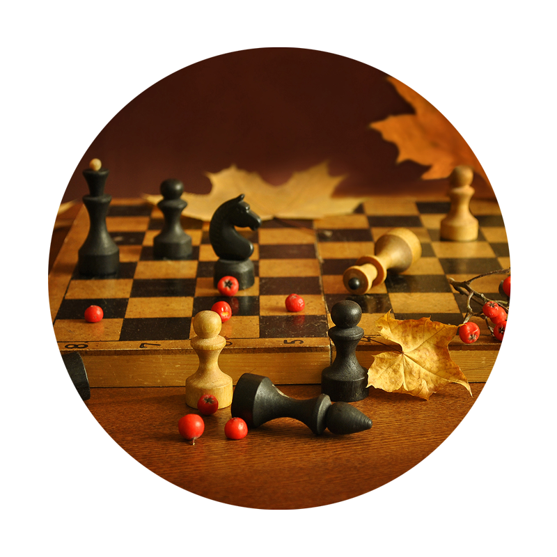 Chess board with fall leaves backdrop