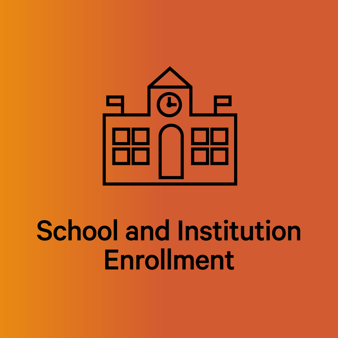 orange background gradient with line drawing of a building. Under it, it says School and Institution Enrollment.