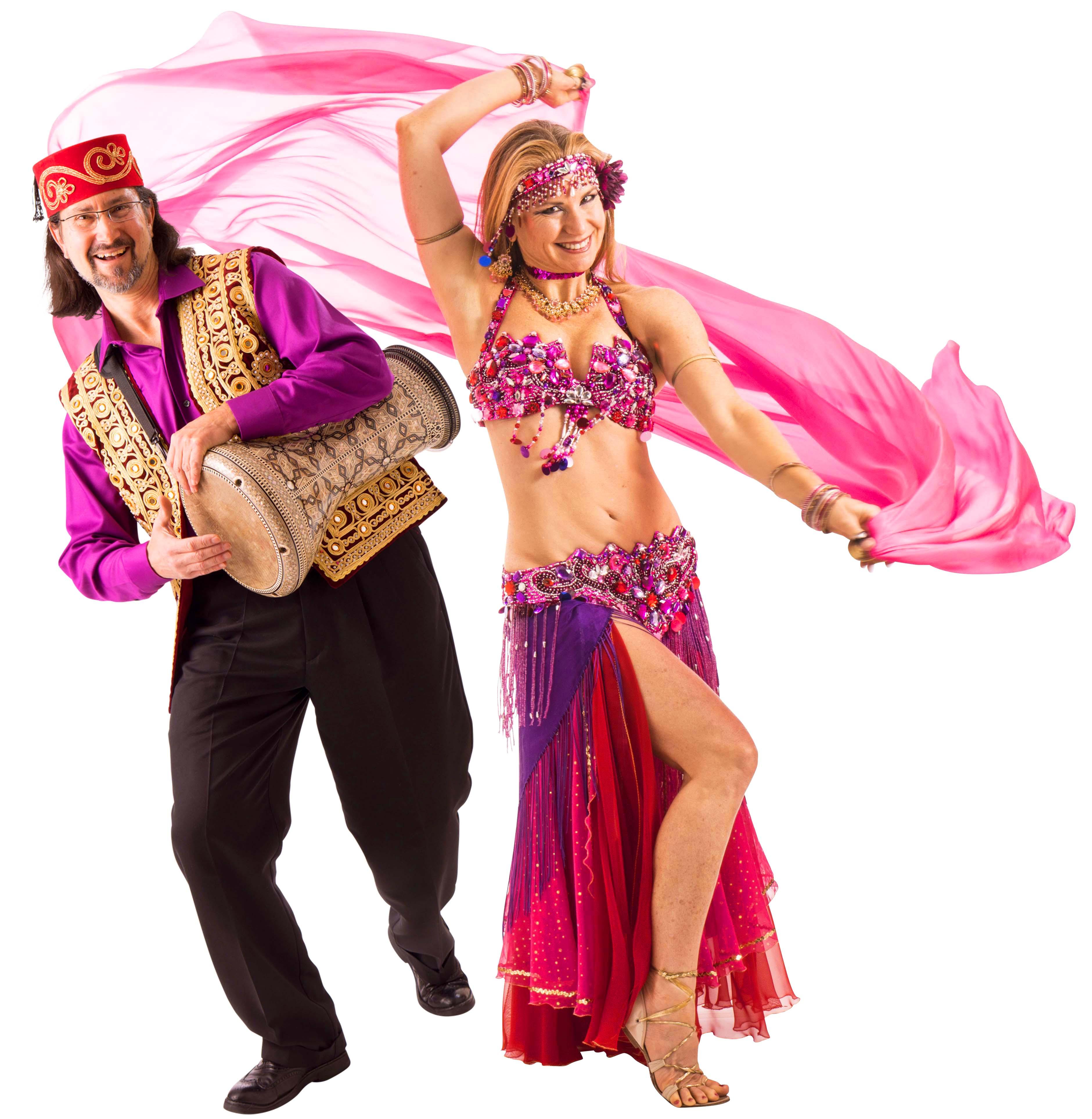 portrait of professional belly dancer Jensuya and drummer Robert Peak