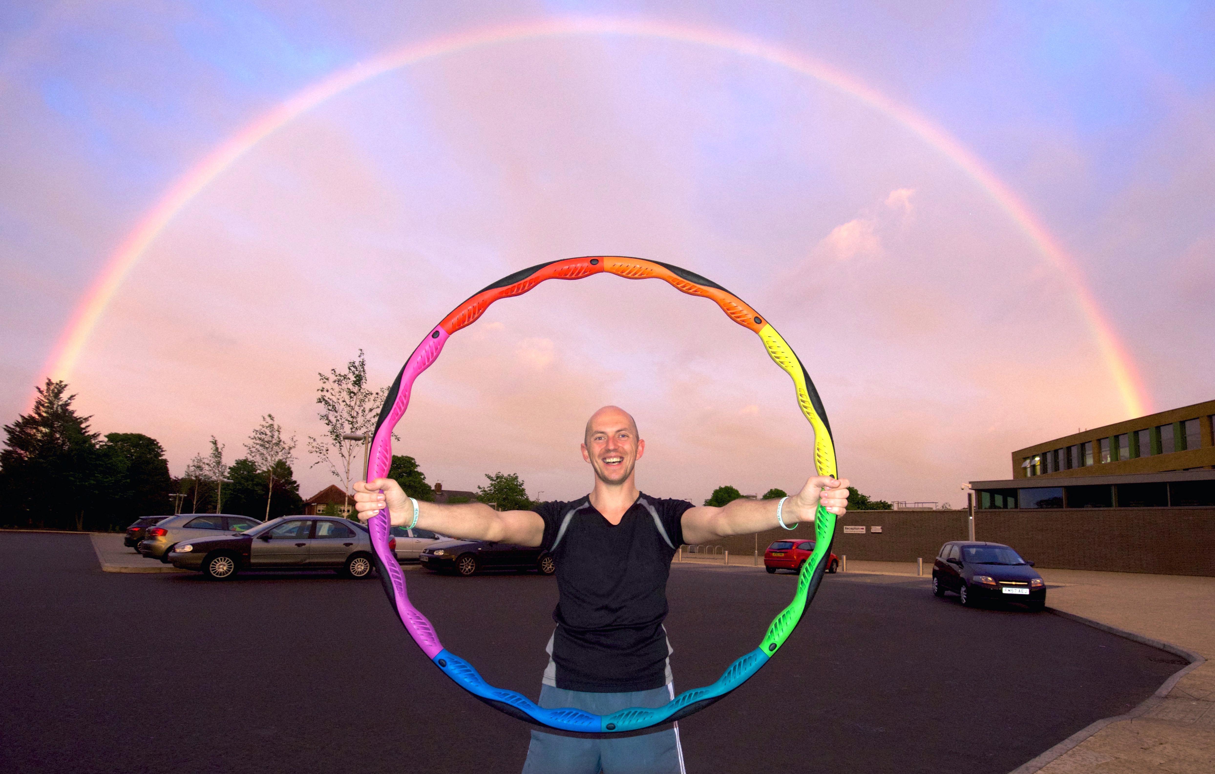 Mr dod with a Powerhoop and rainbow