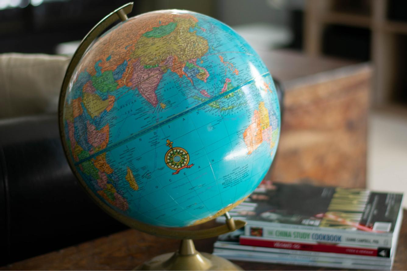 A world map globe