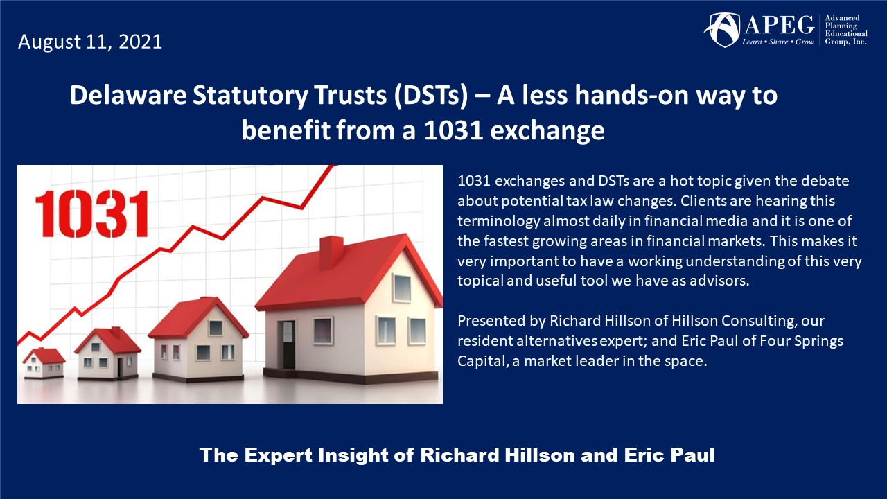 APEG Delaware Statutory Trusts (DSTs) – A less hands-on way to benefit from a 1031 exchange