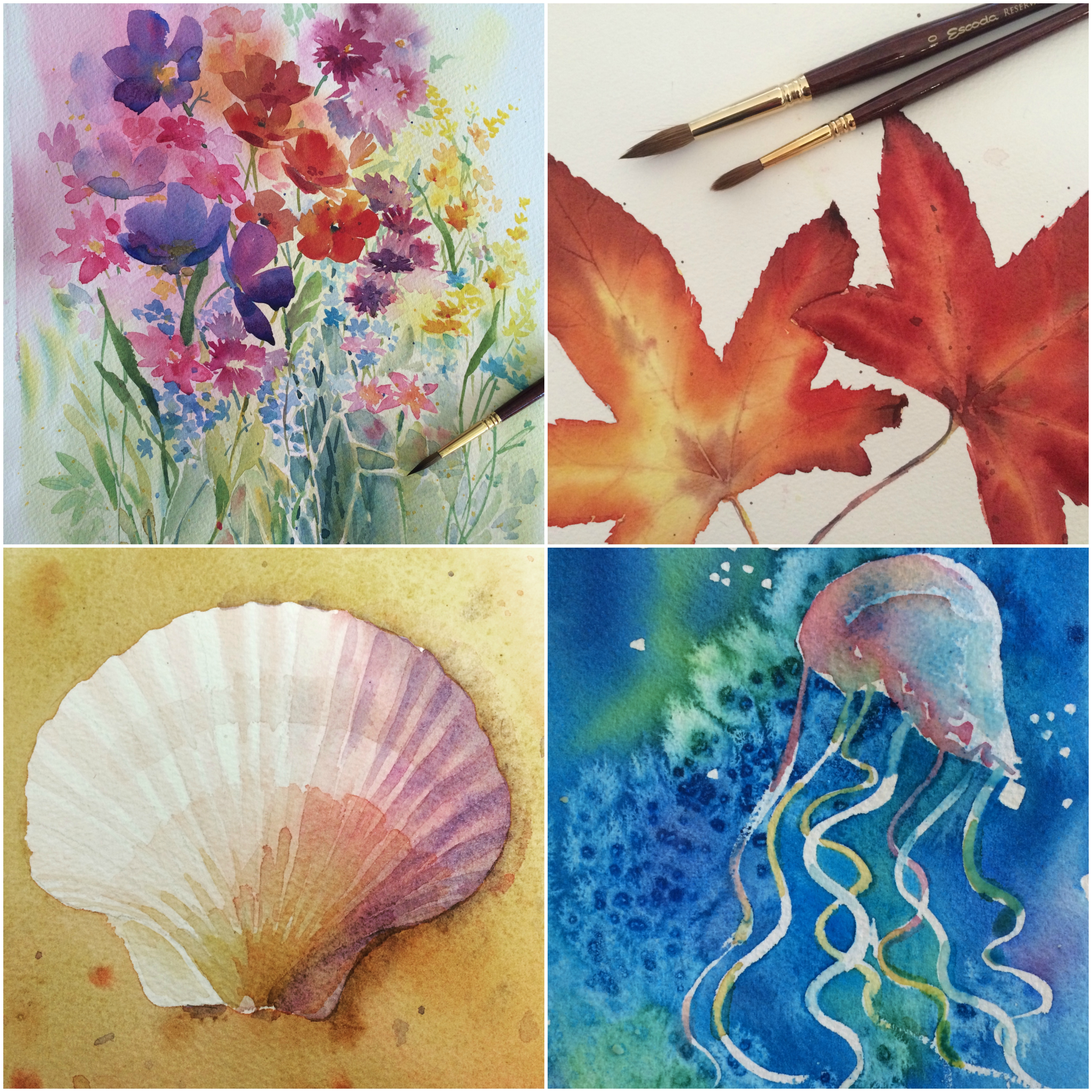 Online Watercolor course and classes teaching absolute beginners to intermediate students how to paint in watercolour.