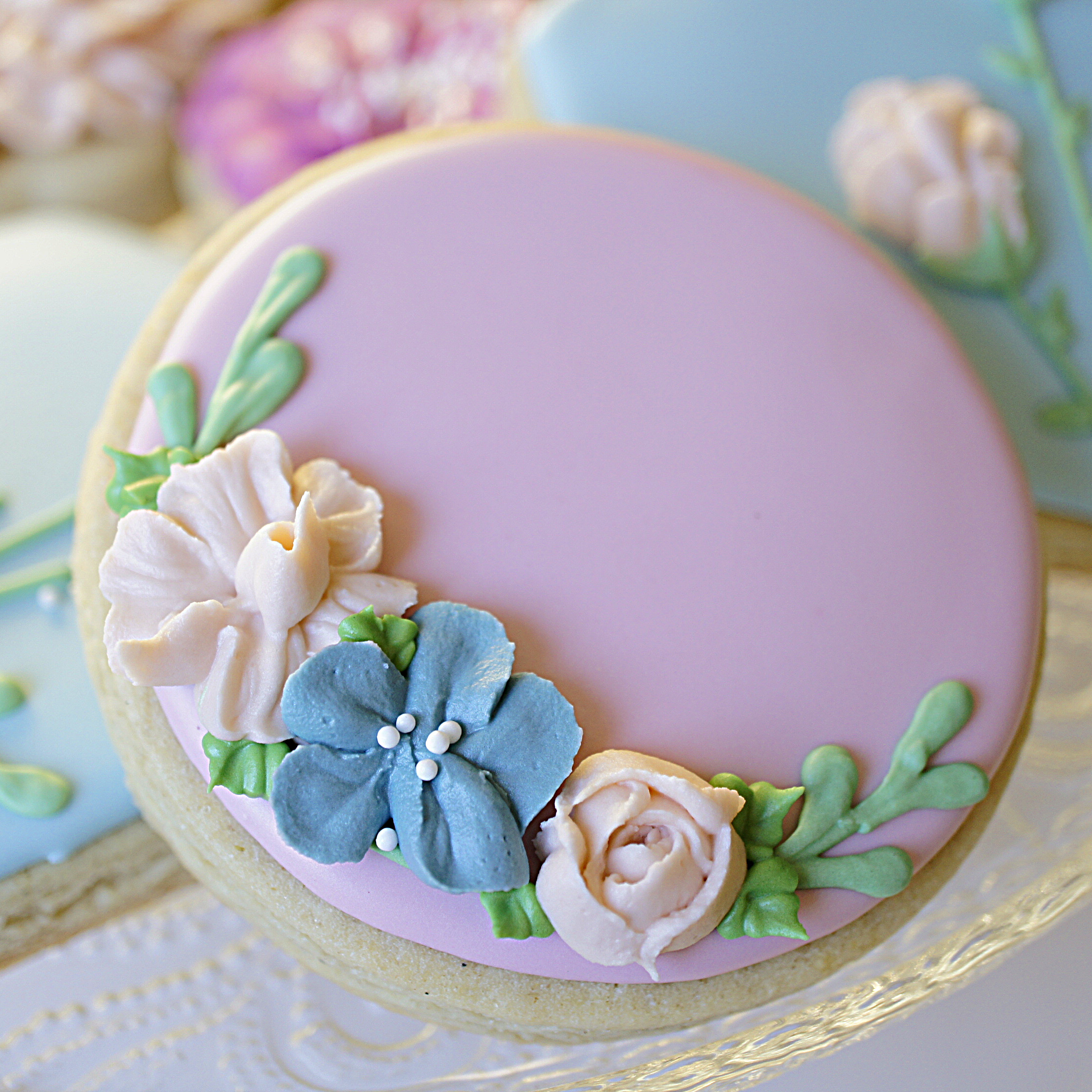 floral royal icing cookie