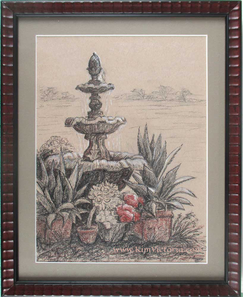 Rustic fountain drawing by Kim Victoria