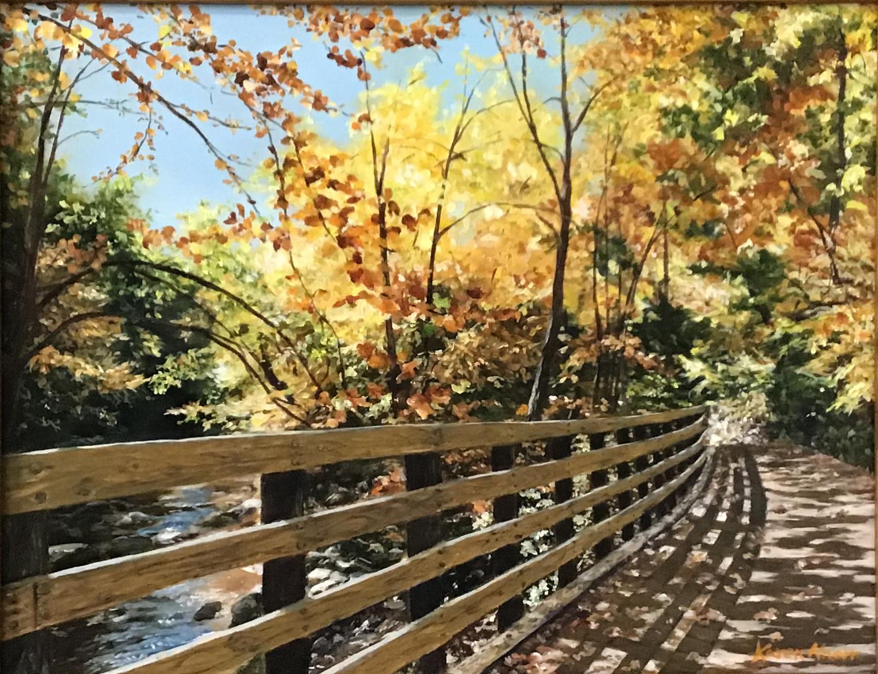 Oil painting of fall landscape, testimonial from student, Karen Knorr of RL Caldwell Studio
