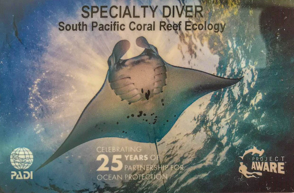 PADI South Pacific Coral Reef Ecology Specialty Fiji
