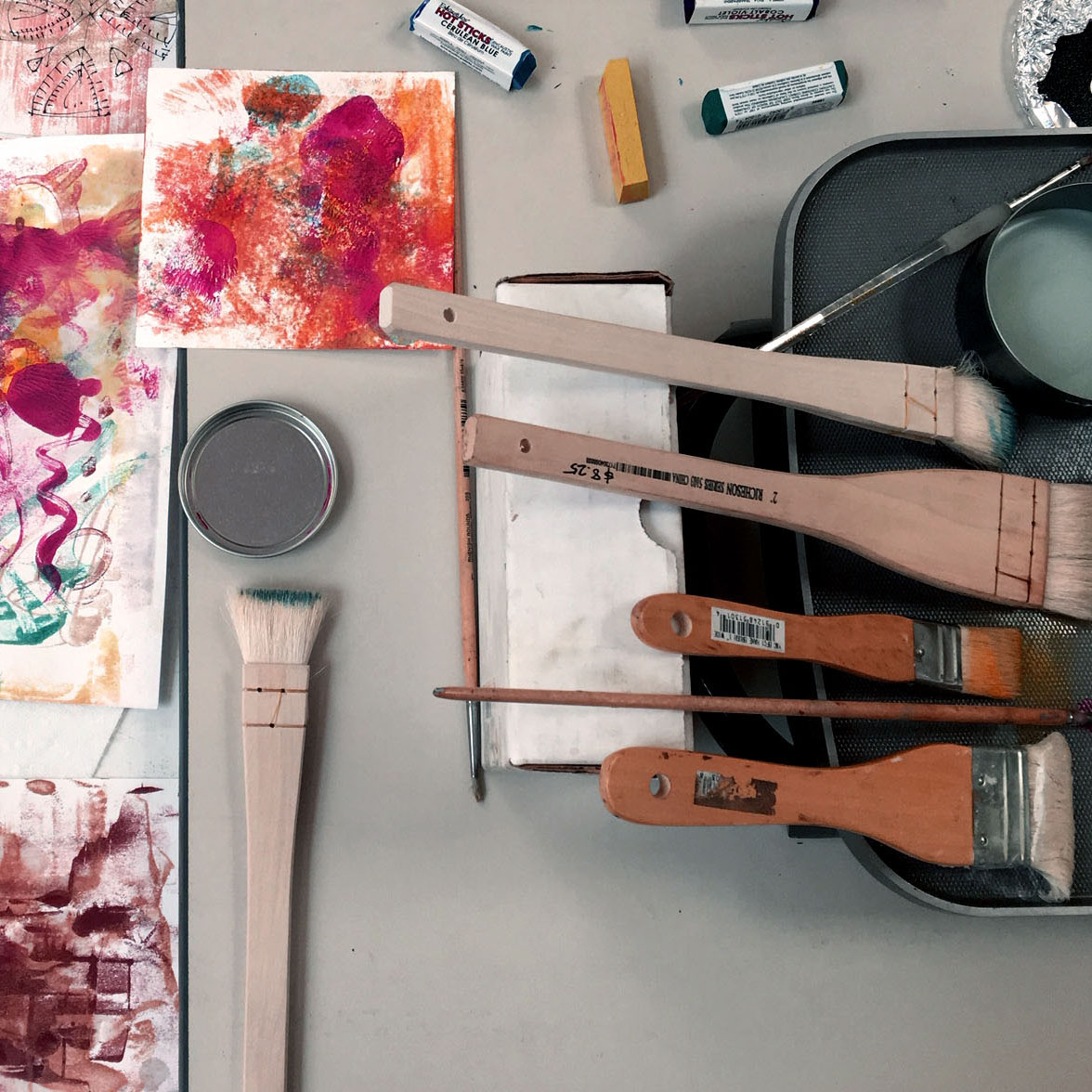 Encaustic Painting with brushes and wax paint